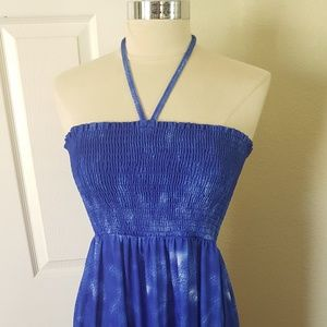 Cobalt blue halter neck sun dress 3x 22 rockabilly